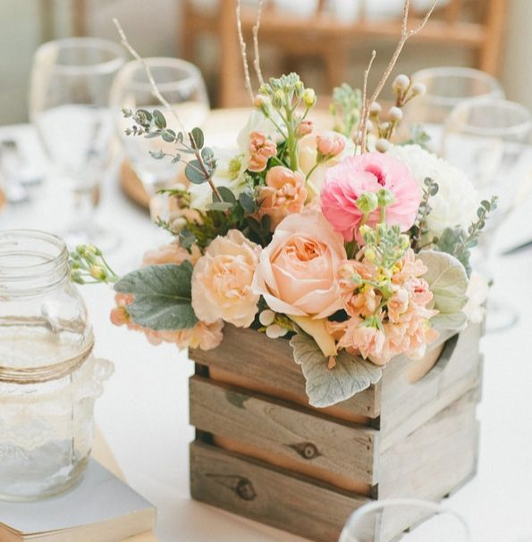 wooden crate flowers