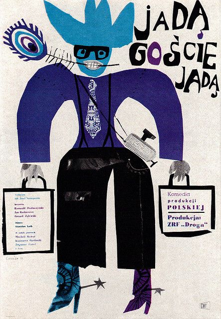 Jan Lenica Film Poster.  Poster for a Polish comedy. From Graphis Annual 63/64.