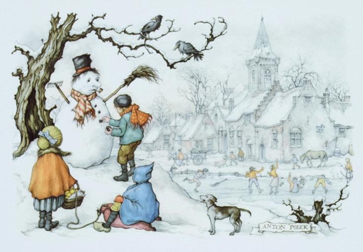 Een sneeuwpop zoals een sneeuwpop hoort te zijn: met hoed, pijp, bezem en op de buik een rij knopen van steentjes.