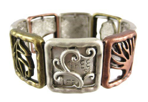 Beautiful Three Tone Tree Of Life Stretch Bracelet Things2Die4. $14.97. 1 Inch Wide. Brass/Silver/Copper Matte Finish. Stretch Bracelet Fits Wrists 6 1/2 In. And Up