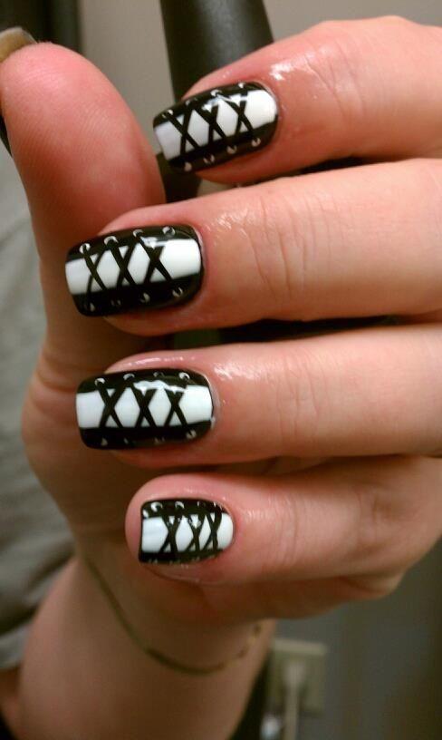 Hand Painted Corset nails! Fun! : Repin if you like :)
