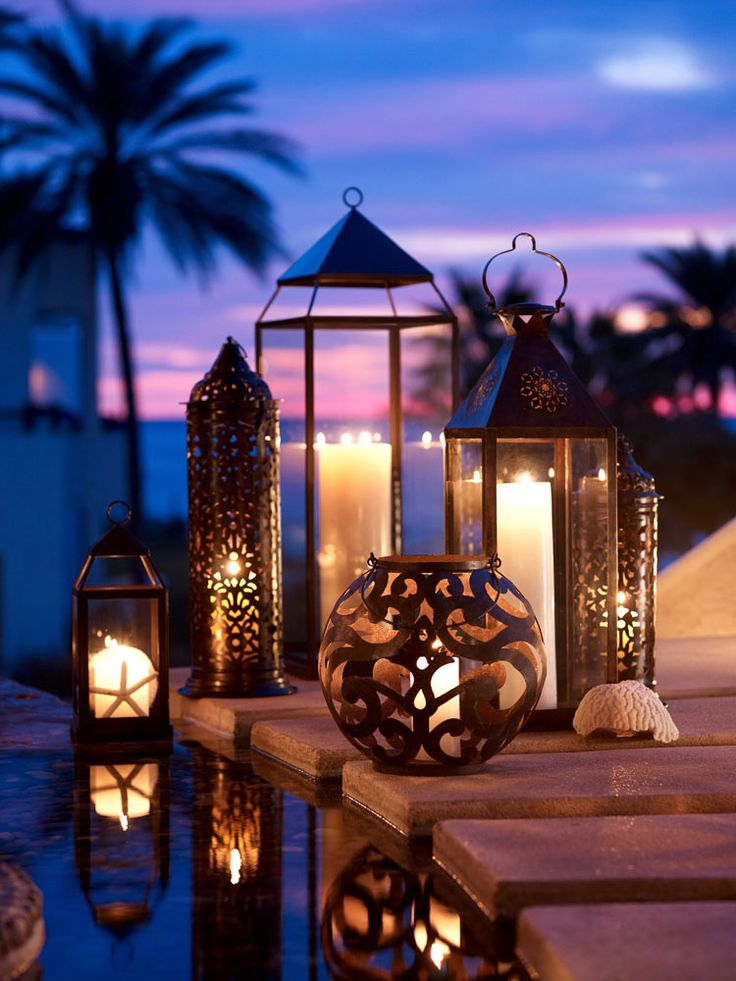Garden Decor- Beautiful lanterns provide ambiance in the garden and patio, mix and match for added interest. They can be hung from trees, shepard hooks and put just about anywhere in the garden.