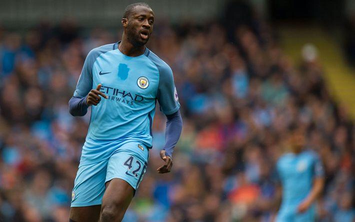Descargar fondos de pantalla Yaya Touré, futbolistas, el Manchester City, de la Premier League, el fútbol, el Hombre de la Ciudad