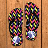 Personalized Flip Flops in Neon and Chevron for bridesmaids.  Great bridesmaids gifts