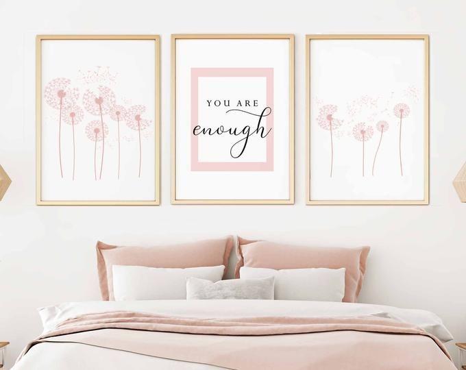 Blush Pink Wall Artset Of 3 Printsbedroom Wall Artgirls Etsy Pink Wall Decor Pink Walls Pink Wall Art