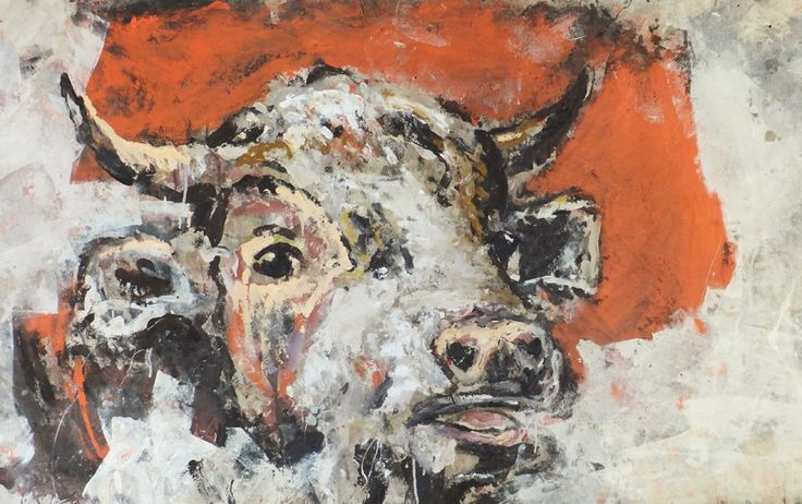 Orange bull by James Kearns.  'The Cycle of Life' by James Kearns | Juxtaposed subjects of animals and humans, along with conflicting themes of light and dark, masculine and feminine, failure and hope, in addition to... http://goo.gl/bkAGc4  #art #australianart #jameskearns #chg