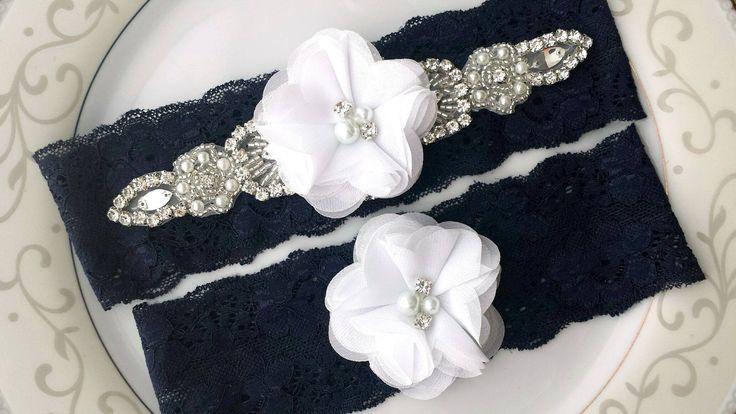 Flower Garter Set White Navy Rhinestone Pearl Bead Crystal Applique Wedding Bridal Garter Belt Set Custom Stretch Lace Toss Keepsake Prom by TheTossedBouquet on Etsy