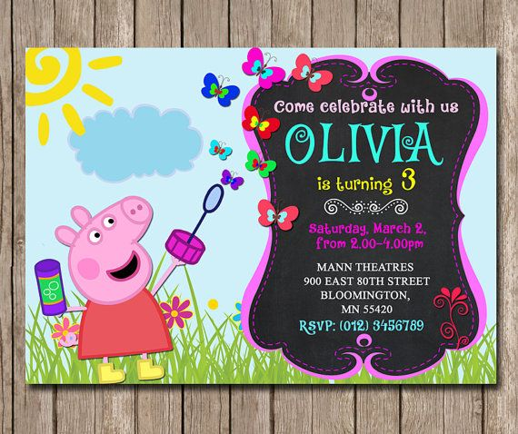 Hey, I found this really awesome Etsy listing at https://www.etsy.com/listing/226544886/peppa-pig-invitation-for-birthday-party