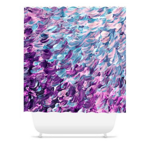 Add some fun and flair to your bathroom with a stylish and unique shower curtain featuring an original acrylic painting image by Ebi Emporium. Rest assured all of your friends won't have the same one-for once! Made from 100% woven polyester, has button hole openings for shower rings, and is machine washable in cold water. (shower rings not included). Dye Sublimation printing creates long lasting water resistant colors. • 100% Polyester • Buttonhole openings for shower curtain rings • Dye ...