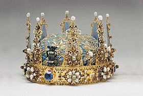 Arvfurstekronan, the seventeenth-century crown of the hereditary princes of Sweden, incorporating wheatsheaves.