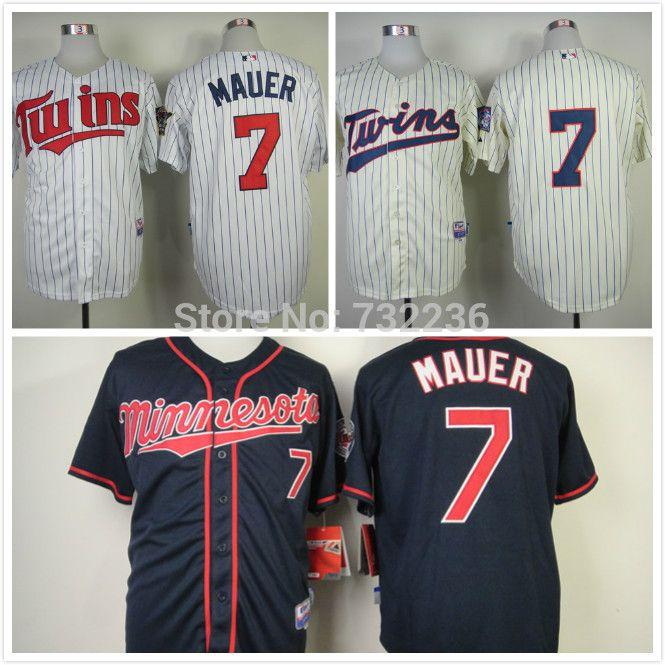 Сшитые бейсбол джерси миннесота твинс джерси # 7 джо мауэр мужчины в бейсбол рубашка / спортивная одежда