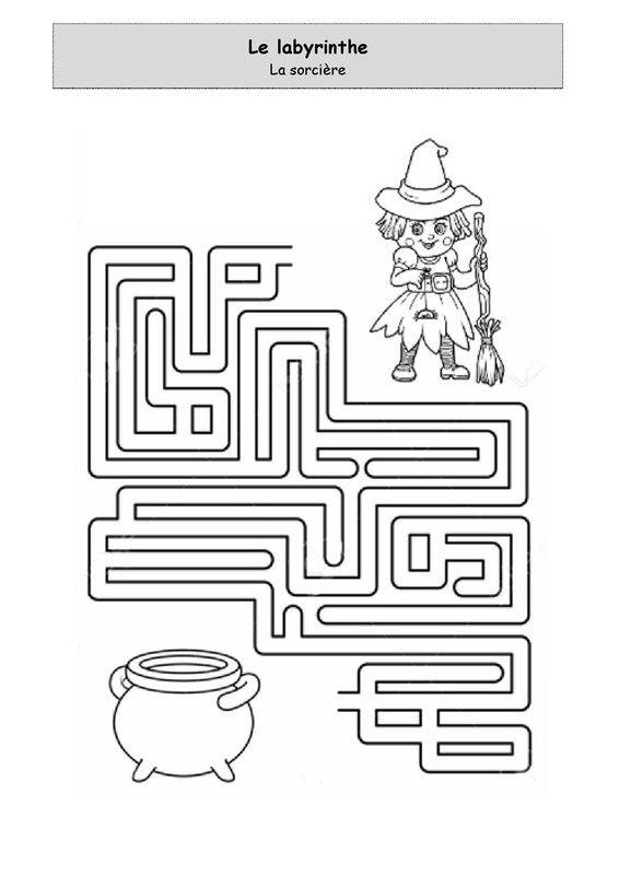Labyrinthe - La sorcière. Fiche d'activité niveau maternelle. Graphisme. Logique