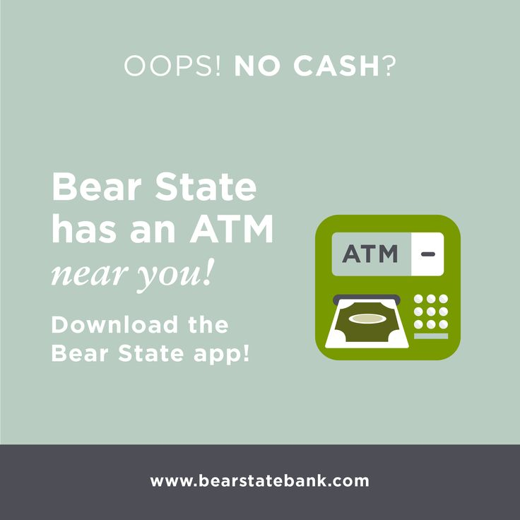 Oops, no cash? Bear State has an ATM near you! http://www.bearstatebank.com/home/about/hours-locations