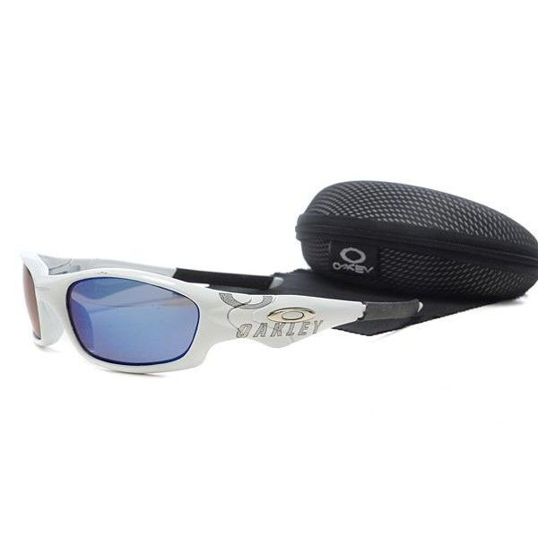 cheap oakley straight jacket sunglasses  $16.99 fake oakley straight jacket sunglasses blue lens white black frames store deals racal