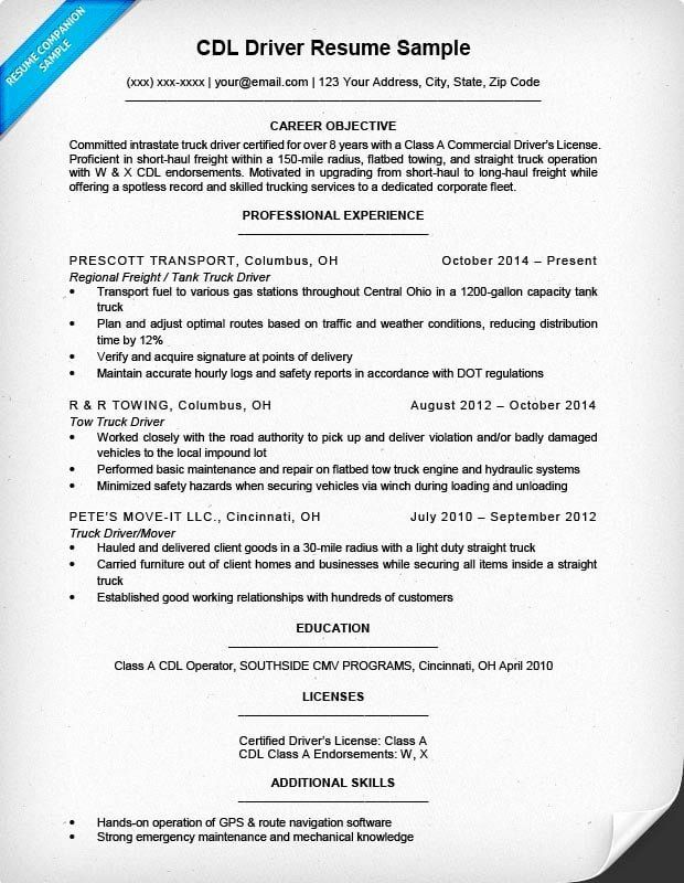 Truck Driver Resume Examples Unique Cdl Driver Resume Sample Writing Tips In 2020 Resume Examples Truck Driver Resume