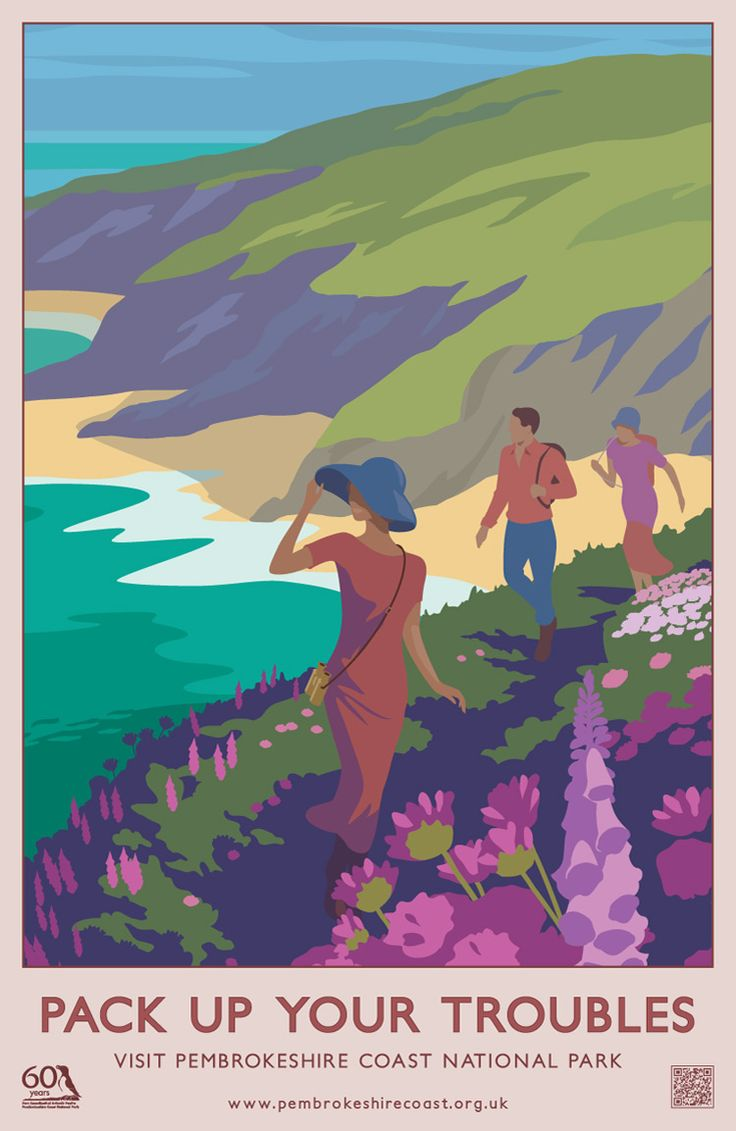 """Pack Up Your Troubles"" Modern Pembrokeshire Coast National Park Railway Travel Poster (AddoCreative)"