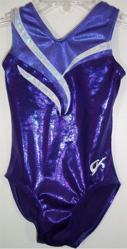 GK Elite Purple Foil Competition Girl's Leotard Gymnastics Dance CS Childs Small #GKElite