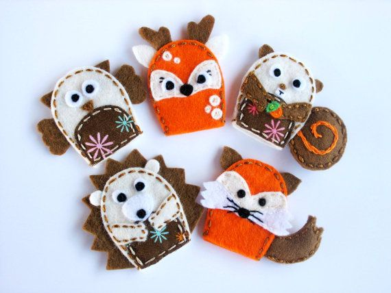 Woodland animals  set of 5 wool felt finger puppets by InaFeltArt, $28.00
