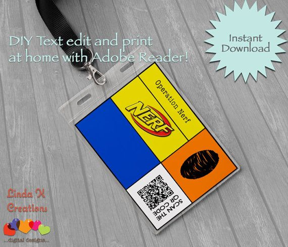 Dart Tag Quot Nerf Wars Quot Inspired Party Name Id Tags