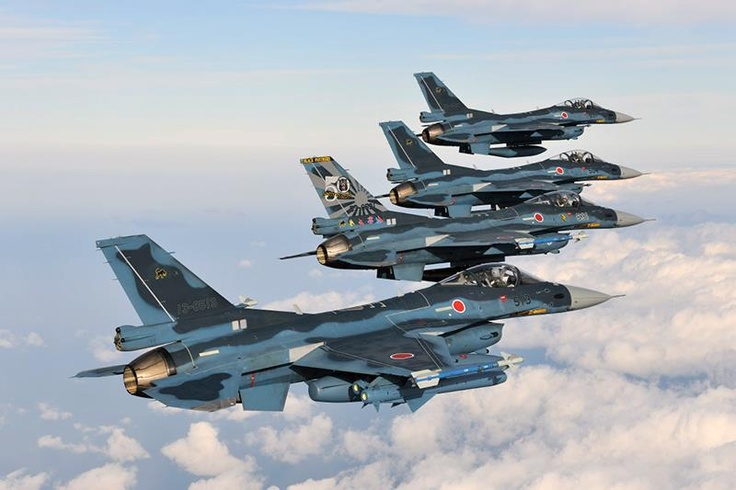 Formation of JASDF F-2 Self-Defense Fighters from the 8th Squadron at Misawa Air Base. Photo by Katsuhiko Tokunaga.