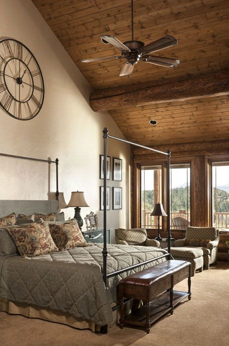 South Fork Master Bedroom  love this high ceiling look