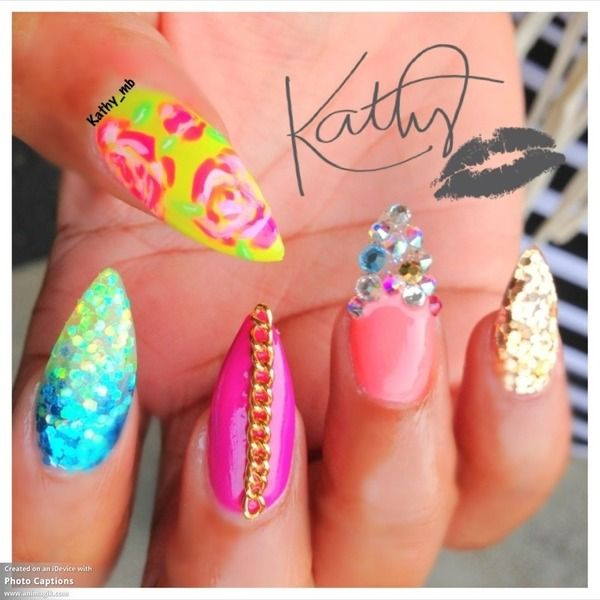 27 best images about nails on pinterest pointy nails nail and encapsulated stiletto nails with chain prinsesfo Image collections