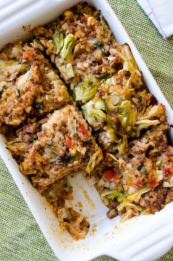 CABBAGE CASSEROLE || cabbage, ground meat (beef, turkey), onion, garlic, tomato paste, tomato, rice, salt/pepper, dried mint, lemon, parsley, cayenne
