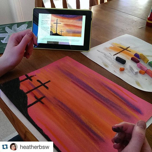 Gorgeous colors with the three crosses - by Heather's artist - with our new Easter Chalk Pastel Art for All Ages! Beautiful   #Repost @heatherbsw with @repostapp. ・・・ Good chalk fun!
