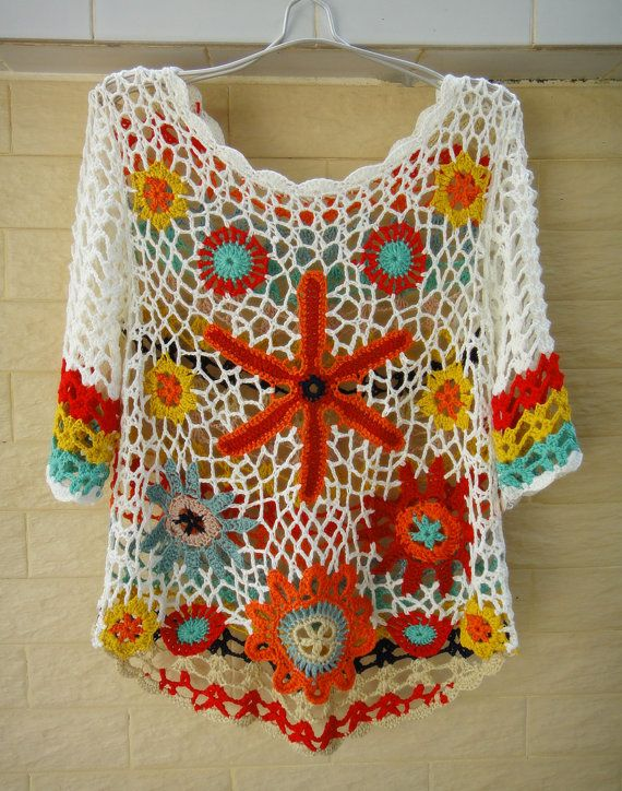 "Elbow Sleeve Summer Floral Top Bohemian Clothing Ideal for layering, go perfectly with beach dress, swimwear, crochet bikini set So bohemian chic! elegant sexy piece, made with acrylic cotton yarn measured 36"" in bust, 22"" in length and 13"" from shoulder to sleeve. will fit a S-M size"
