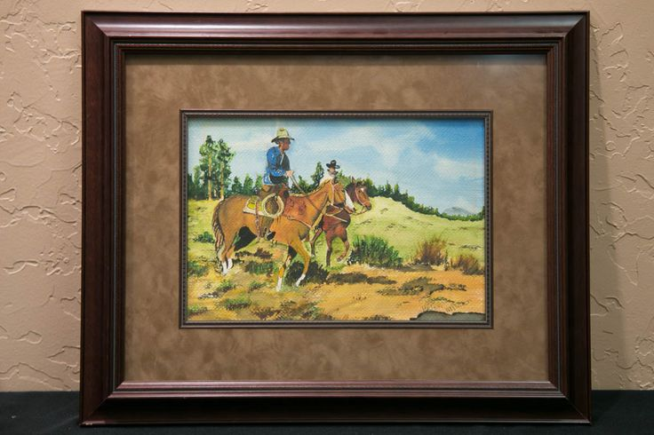 """Helen Allman is the signature on the painting, but no information appears to be available on her. """"Cowboys on Horseback"""" a watercolor."""