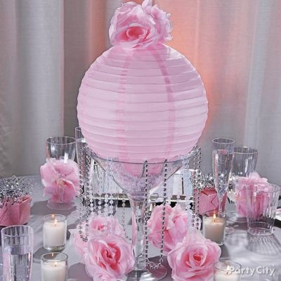 Pretty in pink....paper lanterns, bling and pink roses