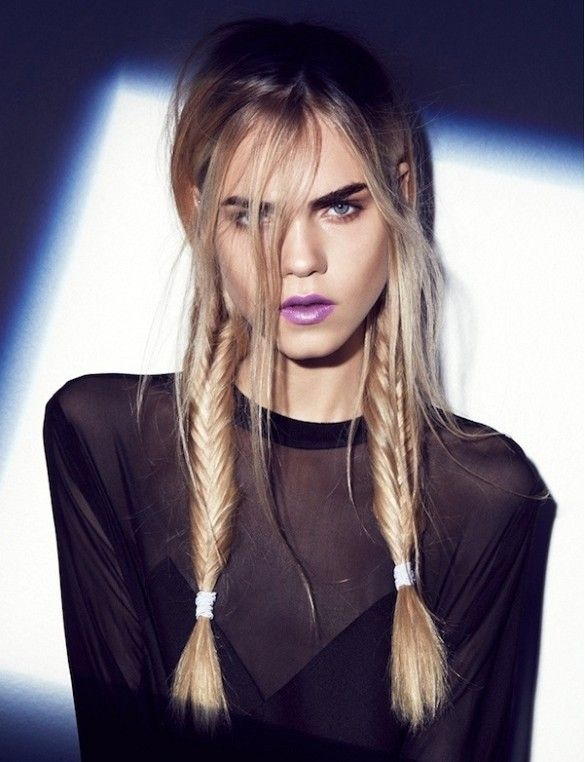 5 Incredibly Cool Braided Hair Looks: bold brows, purple lips & fishtail braid pigtails #hairstyle #beauty #fashion #style