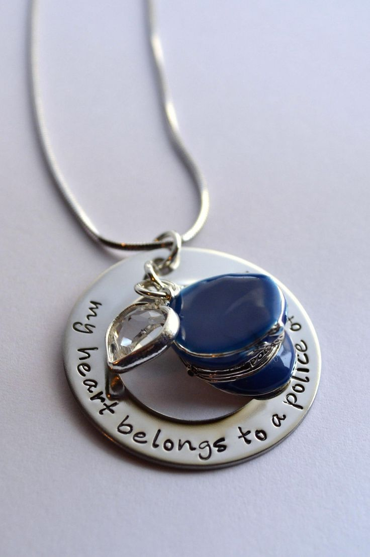 Police Officers Wife Necklace  My Heart Belongs To A Police Officer   Police Wife's Necklace