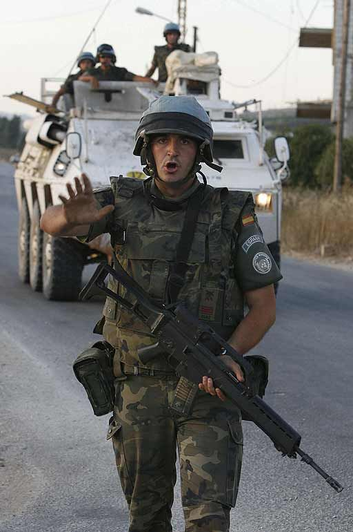 Spanish soldier (BRIPAC) after a terrorist attack in Libanon (2007). 6 soldiers were killed.