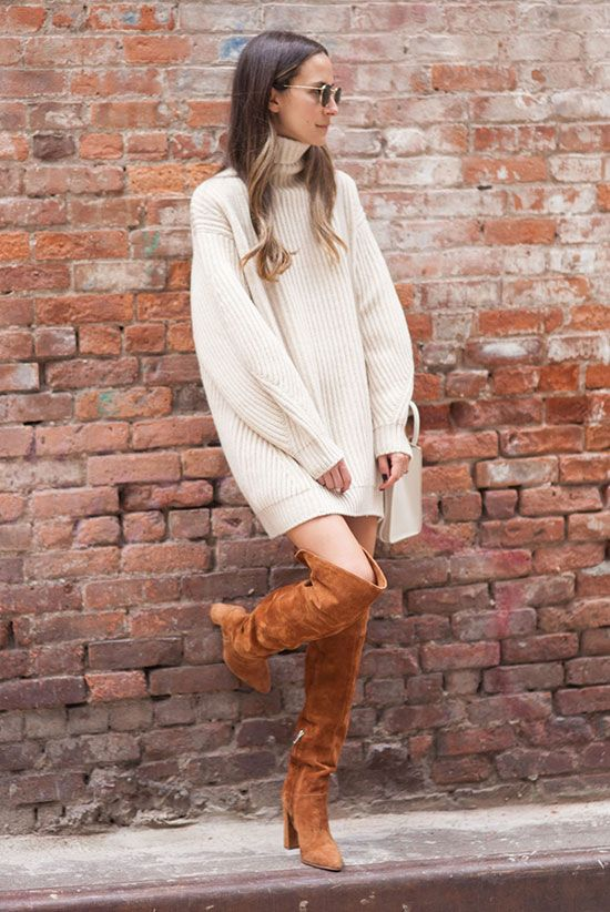 fall outfit, winter outfit, casual outfit, night out outfit, easy outfit - beige turtleneck sweater dress, brown suede over the knee boots, round sunglasses