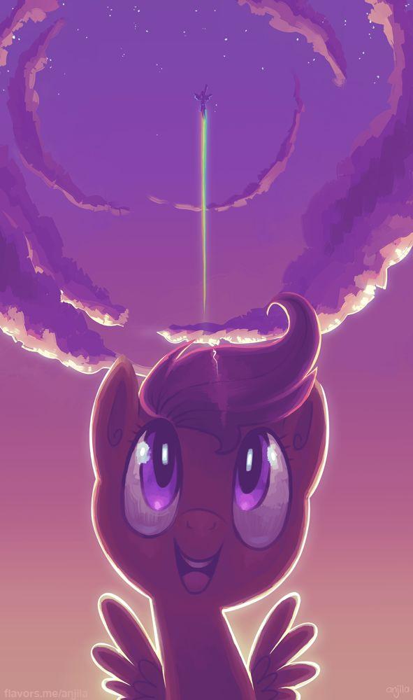 My Little Pony: Friendship Is Magic, MLP: FIM, MLP, Pony, Ponies, Scootaloo, Rainbow Dash, Cute, Beautiful, Art