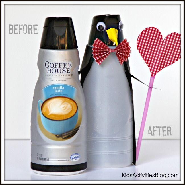 Transform an International Coffehouse Creamer bottle into a penguin valentine