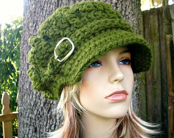 Crochet el sombrero verde sombrero de mujer verde vendedor de periódicos sombrero - monarca gran tamaño acanalado del ganchillo del vendedor de periódicos sombrero verde oliva ganchillo - las mujeres accesorios
