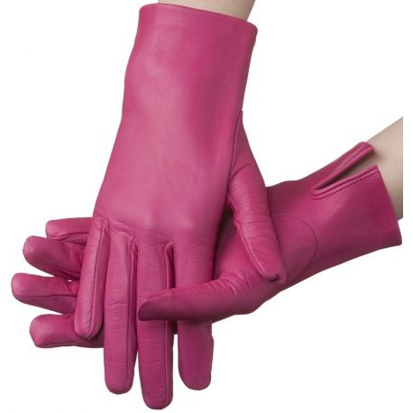 Hot pink - Lundorf Flora Ladies short Italian leather gloves - unlined