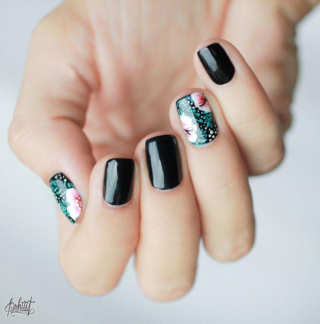 Nägel // Schwarz / Hawaii / Blumen