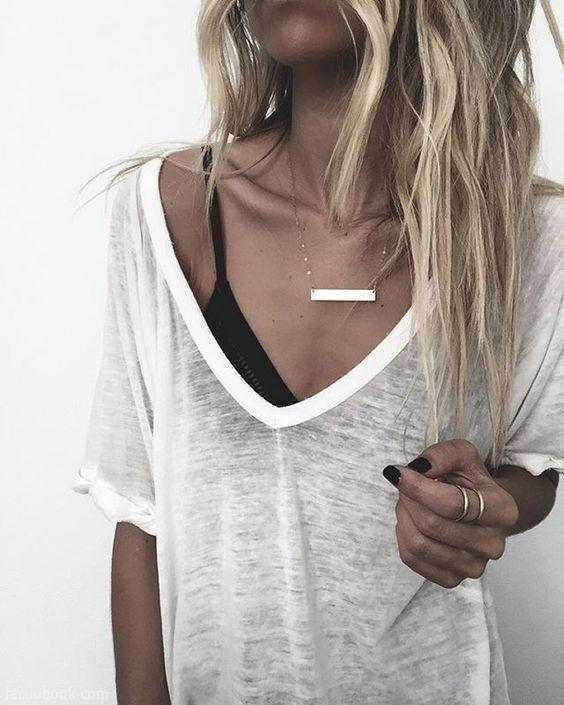 basics. blonde. delicate jewelry.