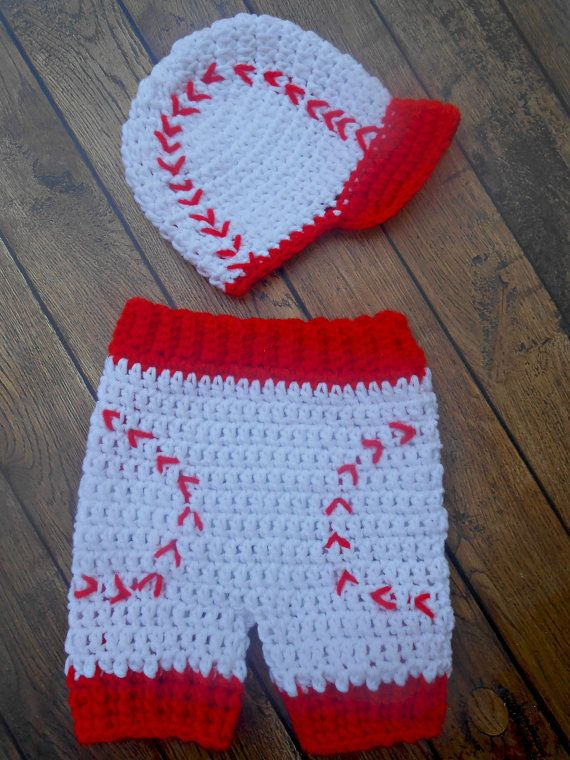 Crochet baseball set Baseball cap with short by jwhitevintage