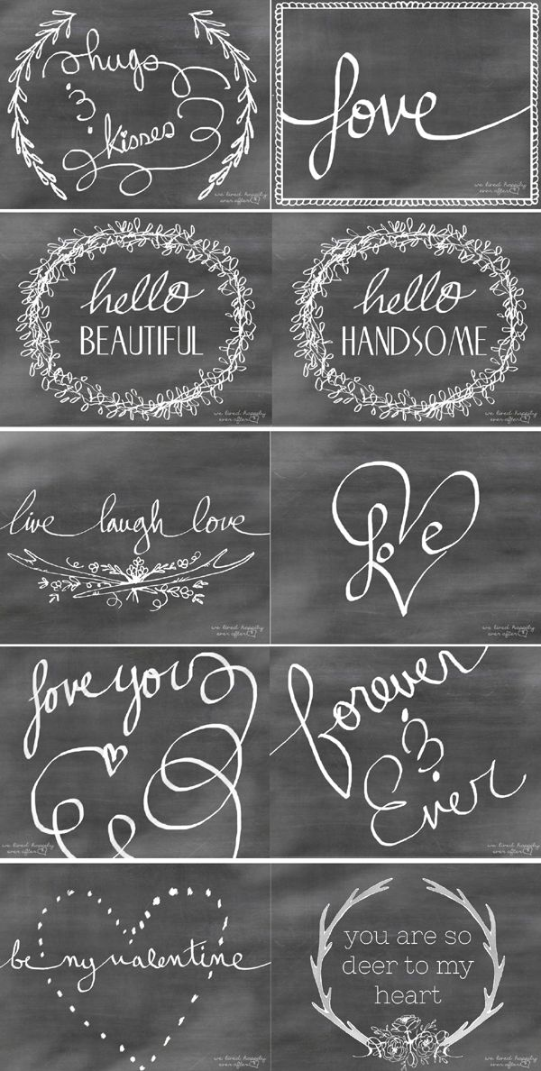 FREE printable Valentine's Day Chalkboard Cards / We Lived Happily Ever After: