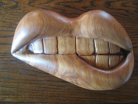Hand carved Elm wood lips makes wonderfully door OsborneArtwork