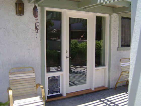 French doors with doggie door built in wood french doors for Door with dog door