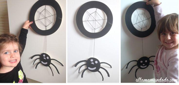 déco halloween enfant araignée DIY spider http://allomamandodo.com/tuto-diy-halloween-araignee-a-base-dassiette-en-carton/