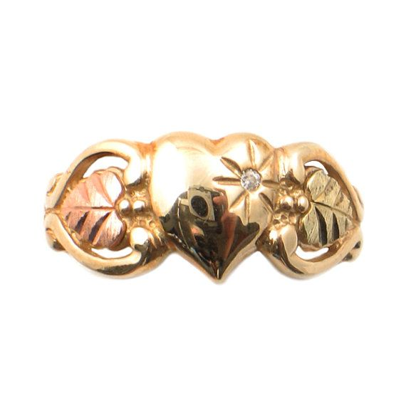 Vintage Black Hills Gold 3-Heart Ring with by EncoreJewelryandGems