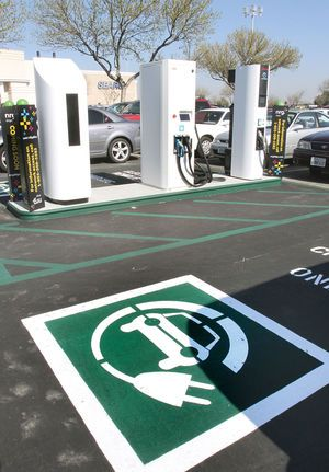 Car charging station open at mall