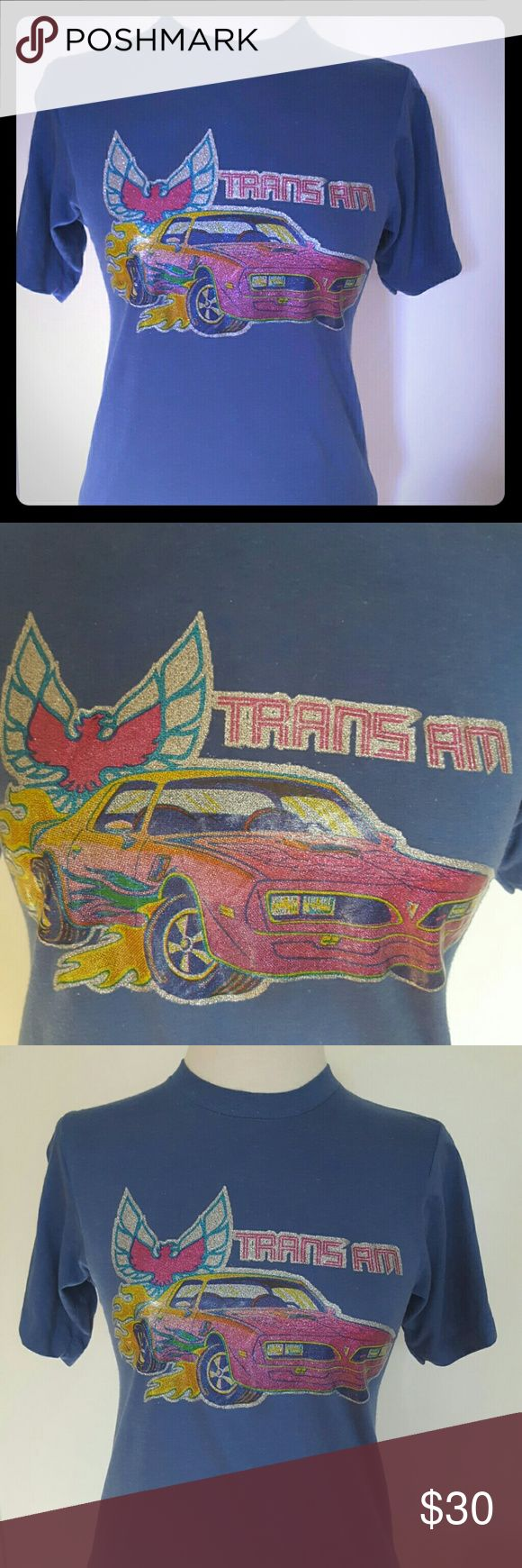 """Womens Car Muscle Trans AM 80s graphic tee 1980s puffy iron on Muscle Car Trans AM Tee. Super cute shirt fits small/ medium ladies. Great colors within this rad shirt. Bound to get compliments!  Length: 25"""" inches Across: 17"""" inches Vintage Tops Tees - Short Sleeve"""