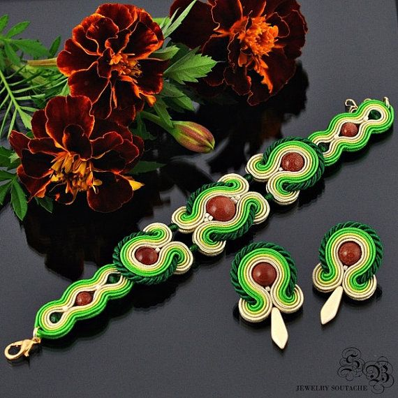 Set of bracelet and earrings,Soutache set,Elegant set,Glamour set,Soutache glamour,Soutache bracelet,Soutache earrings